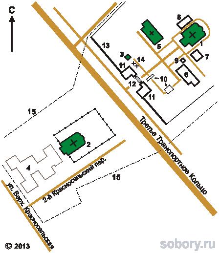 План Ново-Алексеевского монастыря в Москве
